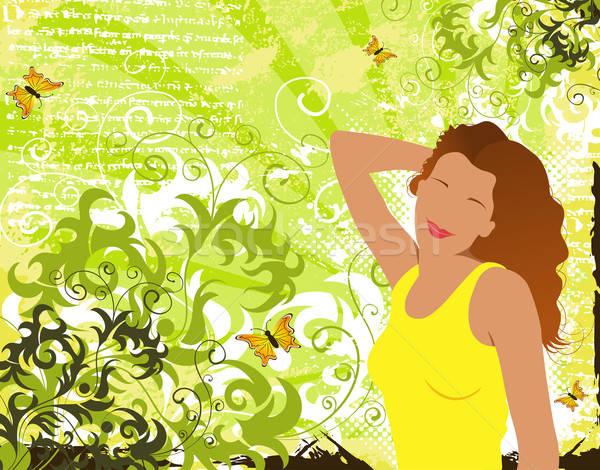 Streszczenie kwiatowy chaos dziewczyna grunge Motyl Zdjęcia stock © -TAlex-