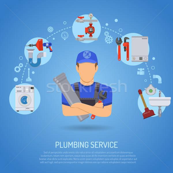 Plomberie Ouvrir la infographie réparation nettoyage plombier Photo stock © -TAlex-
