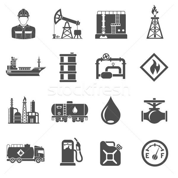 Stock fotó: Olajipar · ikon · szett · gyártás · közlekedés · olaj · benzin