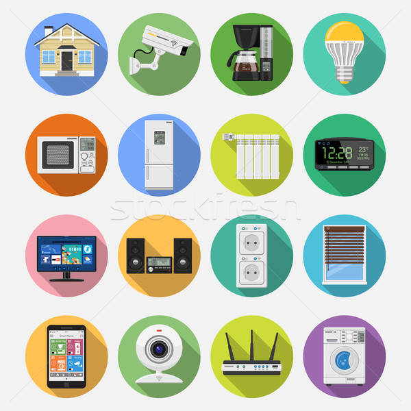 Smart House and internet of things flat icons set Stock photo © -TAlex-