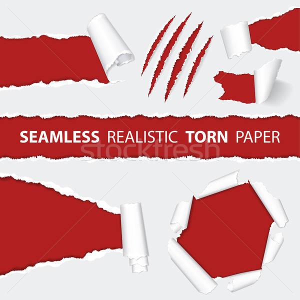 Réaliste papier déchiré scratch animaux Photo stock © -TAlex-