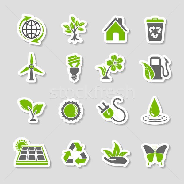 Foto stock: Ambiente · ícones · adesivo · conjunto · árvore · folha