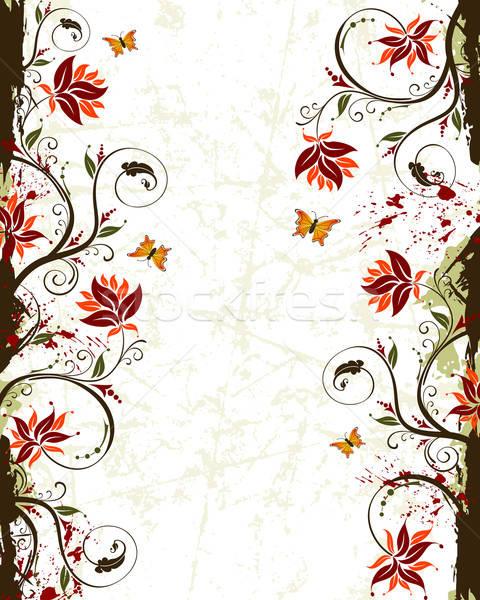 Stock fotó: Grunge · virág · festék · pillangó · alkotóelem · terv