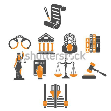 Crime and Punishment two color Icons Stock photo © -TAlex-