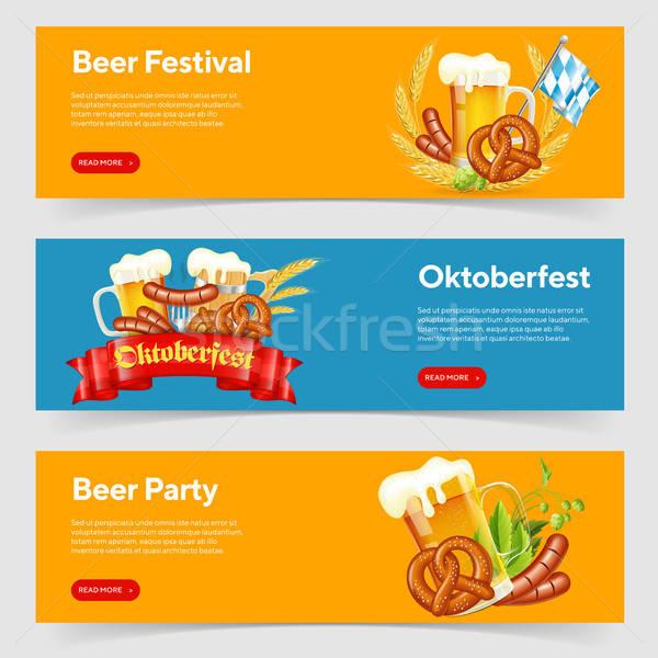 オクトーバーフェスト ビール 祭り バナー お祝い ガラス ストックフォト © -TAlex-