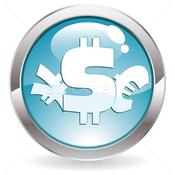 Połysk przycisk znak dolara euro jen trójwymiarowy Zdjęcia stock © -TAlex-