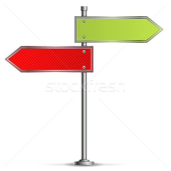 Słup znaki drogowe czerwony zielone drogowego informacji Zdjęcia stock © -TAlex-