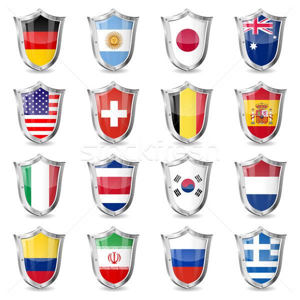 Stockfoto: Voetbal · vlaggen · wereld · kampioenschap · 2014 · geïsoleerd