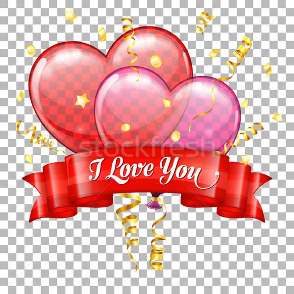 Stock fotó: Valentin · nap · szívek · léggömbök · ünnep · szív · konfetti