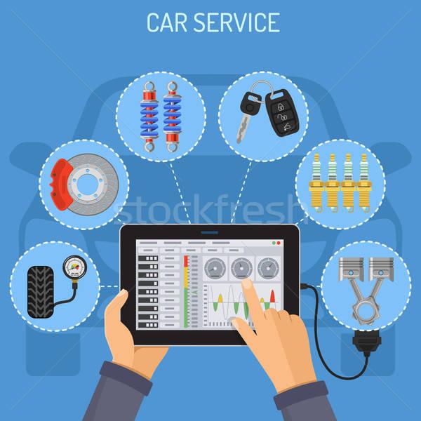 Auto dienst onderhoud iconen monteur Stockfoto © -TAlex-