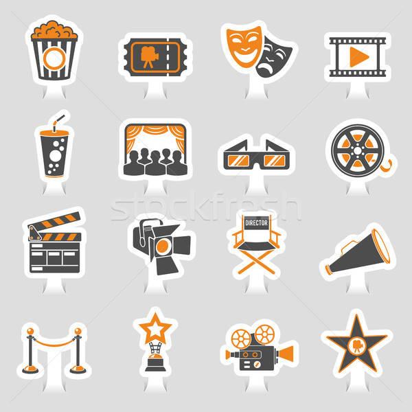 Cinema and Movie sticker Icons Set Stock photo © -TAlex-