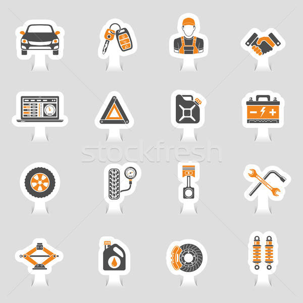 Car Service Vector Icons Sticker Set Stock photo © -TAlex-