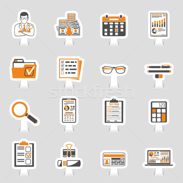 Auditing, Tax, Accounting Sticker Icons Set Stock photo © -TAlex-