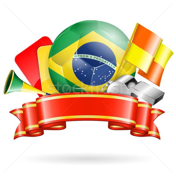 Foto stock: Fútbol · anunciante · Brasil · pelota · cinta · banderas