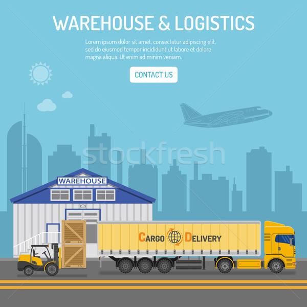 Photo stock: Entrepôt · logistique · bannière · infographie · icônes · camion · de · livraison