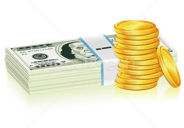 Dollar gouden munten succes business geïsoleerd Stockfoto © -TAlex-