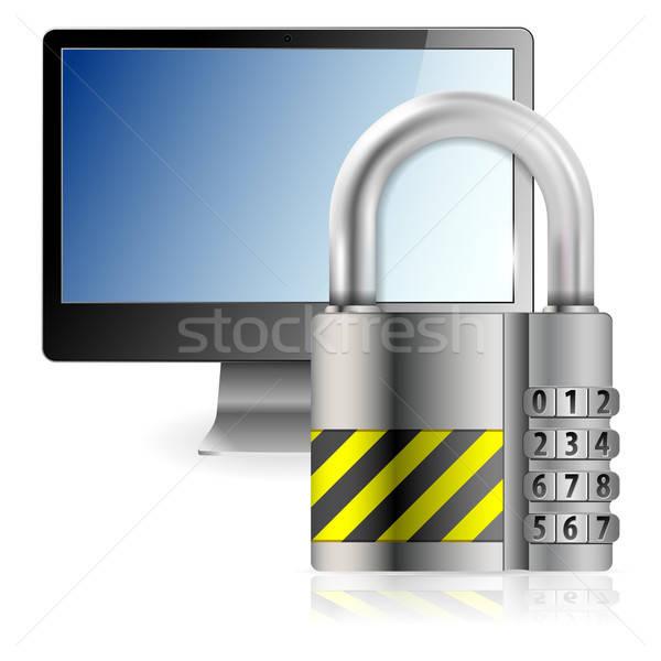 Bezpieczne komputera działalności kodu kłódki monitor komputerowy Zdjęcia stock © -TAlex-