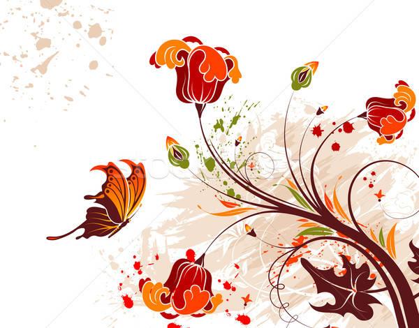 Grunge virág pillangó alkotóelem terv textúra Stock fotó © -TAlex-