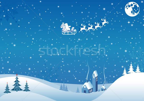 Karácsony karácsonyfa mikulás ház alkotóelem terv Stock fotó © -TAlex-