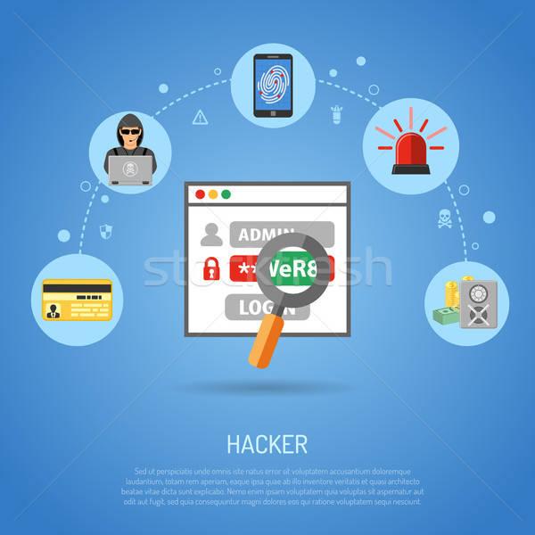 Crime senha cartão de crédito impressão digital seguro Foto stock © -TAlex-
