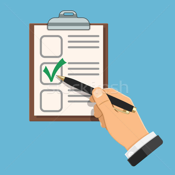 Könyvelés teszt könyvvizsgáló toll kéz lista Stock fotó © -TAlex-