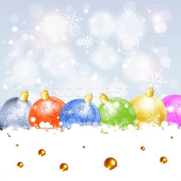 Navidad marco azul juguete oro tarjeta Foto stock © -TAlex-