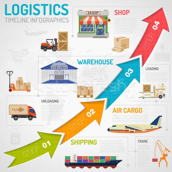 Logistiek infographics stijl iconen vrachtwagen vliegtuig Stockfoto © -TAlex-