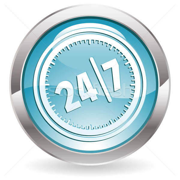 Gloss Button with twenty four hours by seven days Stock photo © -TAlex-