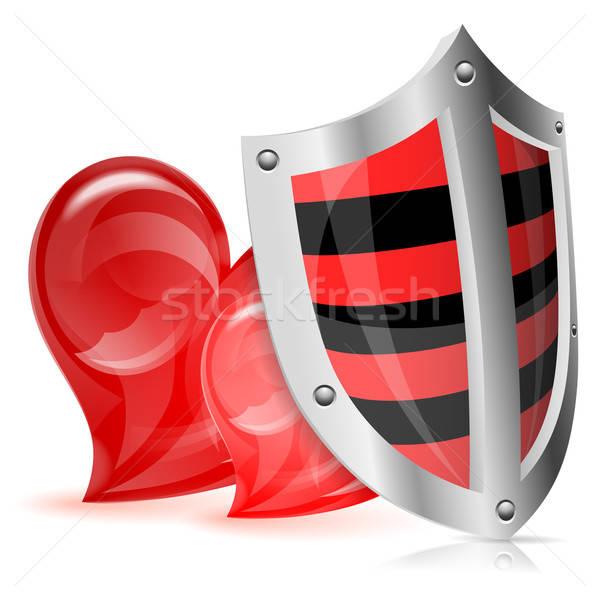 ストックフォト: 愛 · 保護された · バレンタインデー · シールド · 2 · 心