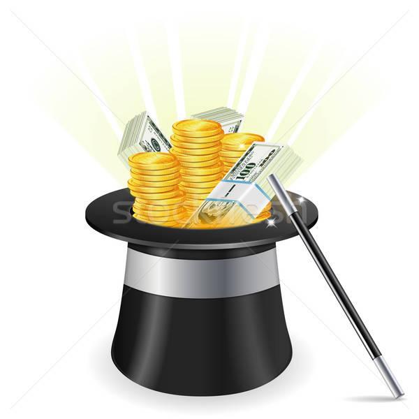 успех бизнеса маг Hat монетами Сток-фото © -TAlex-