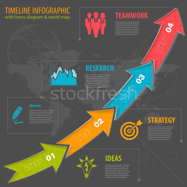Idővonal infografika üzlet nyilak ikonok szám Stock fotó © -TAlex-