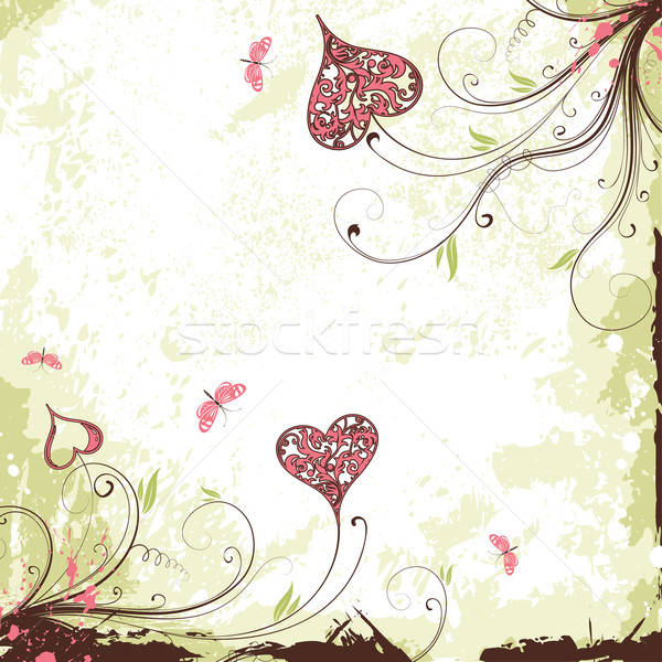 Valentines Day grunge background with hearts and flowers Stock photo © -TAlex-