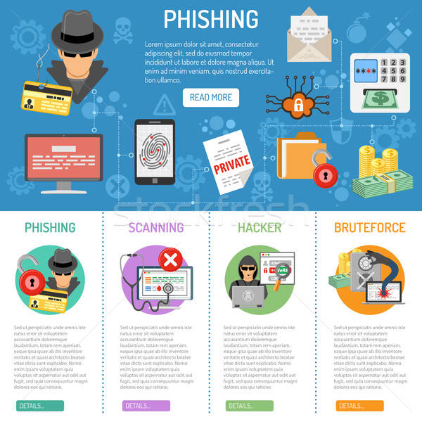 Crime phishing infographie icônes empreintes Photo stock © -TAlex-