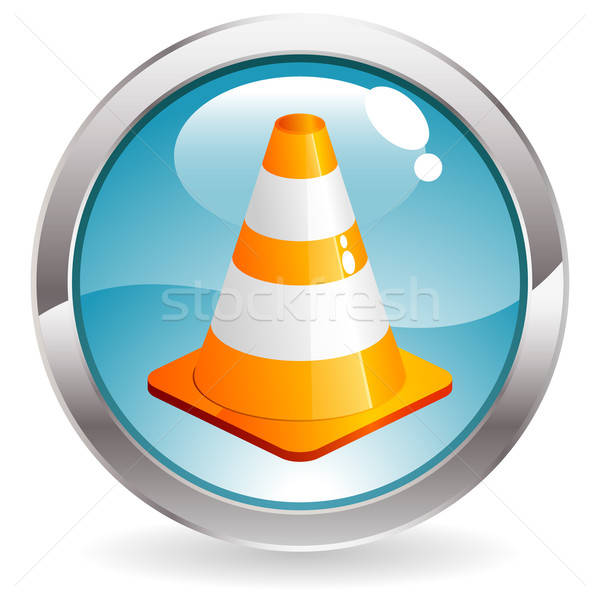Gloss Button with Traffic Cone Stock photo © -TAlex-