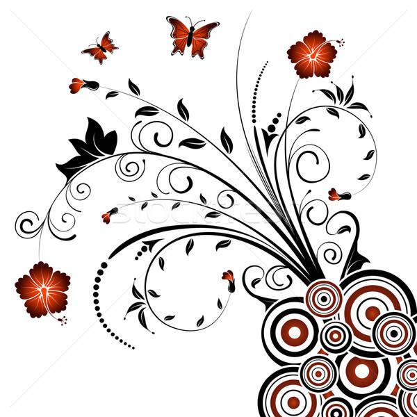 抽象的な フローラル 混沌 蝶 デザイン ストックフォト © -TAlex-