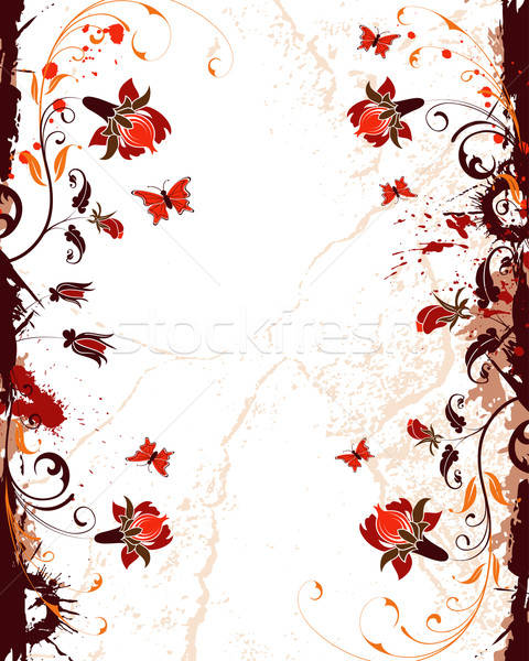 Grunge Blume malen Schmetterling Element Design Stock foto © -TAlex-