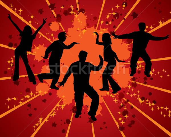 Dansen silhouetten vector grunge abstract retro Stockfoto © -TAlex-