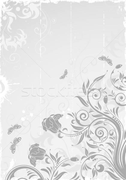 Floral quadro grunge borboleta elemento projeto Foto stock © -TAlex-
