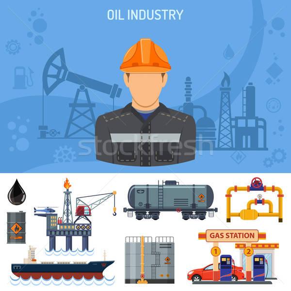 Olie-industrie iconen productie vervoer olie benzine Stockfoto © -TAlex-