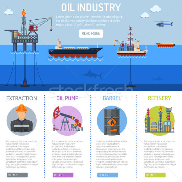 Stockfoto: Olie-industrie · infographics · iconen · raffinaderij · vervoer · olie