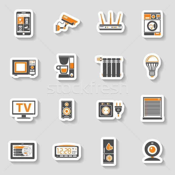Stock fotó: Okos · ház · internet · dolgok · matrica · ikon · szett