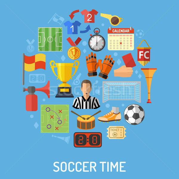 Foto stock: Futebol · ícone · futebol · ícones · árbitro · bola