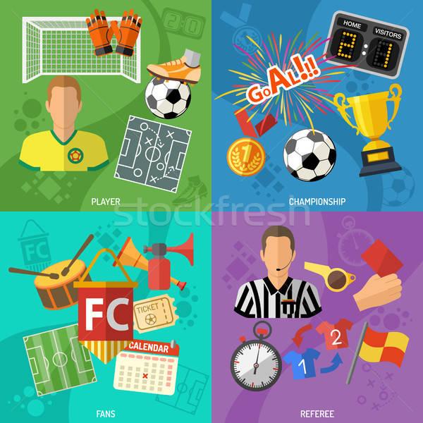 Stock fotó: Futball · tér · bannerek · szett · ikonok · döntőbíró