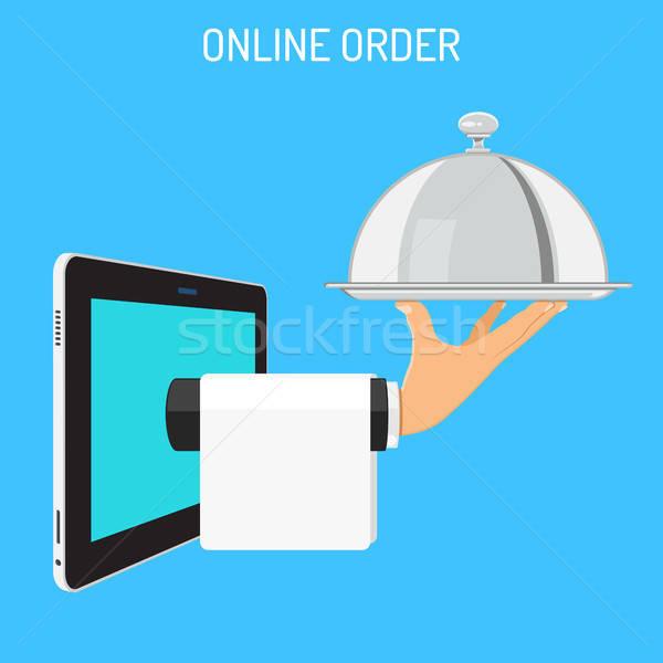 Online rendelés kéz tálca borító internet Stock fotó © -TAlex-