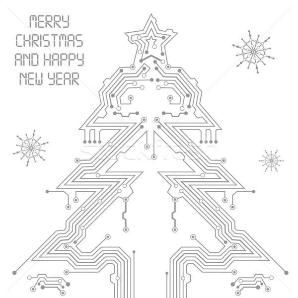 圣诞树 电路板 数字 雪花 设计 商业照片 -talex