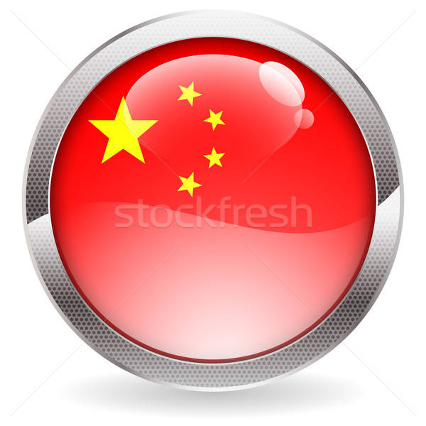 Glans knop China vlag cirkel Stockfoto © -TAlex-