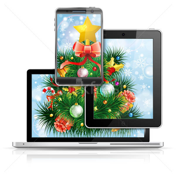Christmas kerstboom laptop scherm smartphone Stockfoto © -TAlex-