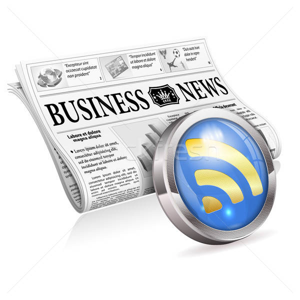 Digitale nieuws business krant rss feed knop Stockfoto © -TAlex-