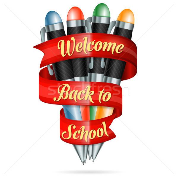 üdvözlet vissza az iskolába színes tollak szalag szöveg Stock fotó © -TAlex-