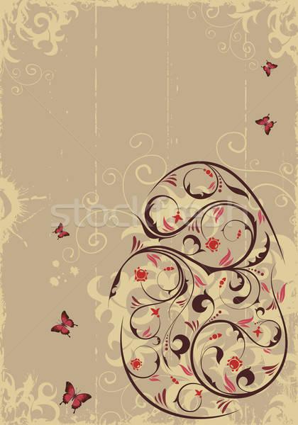 Pascua retro floral huevo de Pascua mariposa elemento Foto stock © -TAlex-